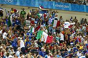 ATENE, 17 AGOSTO 2004<br /> OLIMPIADI ATENE 2004<br /> BASKET <br /> ITALIA - SERBIA E MONTENEGRO <br /> NELLA FOTO: TIFOSI ITALIA<br /> FOTO CIAMILLO