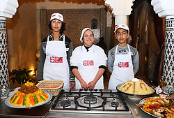 Young chefs await the arrival of the Duke and Duchess of Sussex as they visit a cooking demonstration, where children from under-privileged backgrounds learn traditional Moroccan recipes, at the Villa des Ambassadors in Rabat on the third day of their tour of Morocco.