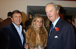 Left to right, the HON.SIR ROCCO FORTE, LADY FORTE and The DUKE OF MARLBOROUGH at a private view of paintings by Rosita Marlborough (The Duchess of Marlborough) held at Hamiltons gallery, Carlos Place, London W1 on 9th November 2005.<br /> <br /> NON EXCLUSIVE - WORLD RIGHTS