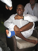 **EXCLUSIVE**.Russell Simmons with a broken foot.Russsell Simmons Party.Carl Gustaf Hotel.St. Barth, Caribbean.Friday, December 28, 2007 .Photo By Selma Fonseca/ Celebrityvibe.com.To license this image please call (212) 410 5354; or.Email: celebrityvibe@gmail.com ;.website: www.celebrityvibe.com