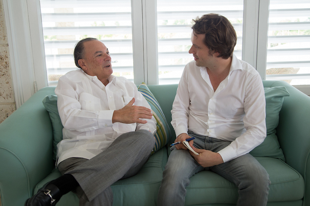 PUNTA CANA, DOMINICAN REPUBLIC-DECEMBER 4, 2014: Frank Rainieri, Dominican entrepreneur developed 58 million acres into what is now Punta Cana, interviewed by Der Spiegel writer Martin U. Muller. Story on tourism to the Caribbean Island.  (Photo by Angel Valentin/Getty Images for Der Spiegel)