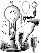 Thomas Edison's carbon filament lamp. From 'The Scientific American', New York, 10 January 1880