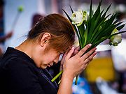 "11 APRIL 2017 - BANGKOK, THAILAND: A woman prays at Wat Chana Songkhram in Bangkok during a Songkran merit making service. Songkran is the traditional Thai Lunar New Year. It is celebrated, under different names, in Thailand, Myanmar, Laos, Cambodia and some parts of Vietnam and China. In most places the holiday is marked by water throwing and water fights and it is sometimes called the ""water festival."" This year's Songkran celebration in Thailand will be more subdued than usual because Thais are still mourning the October 2016 death of their revered Late King, Bhumibol Adulyadej. Songkran is officially a three day holiday, April 13-15, but is frequently celebrated for a full week. Thais start traveling back to their home provinces over the weekend; busses and trains going out of town have been packed.     PHOTO BY JACK KURTZ"