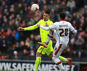Brighton central midfielder Beram Kayal & Milton Keynes Dons striker Nicky Maynard compete for a high ball during the Sky Bet Championship match between Milton Keynes Dons and Brighton and Hove Albion at stadium:mk, Milton Keynes, England on 19 March 2016. Photo by Bennett Dean.