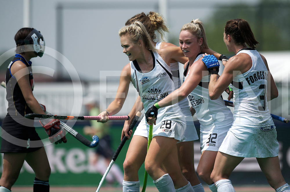 ROTTERDAM - Hock World League Semi Final Women<br /> New Zealand v Japan<br /> Quater finale<br /> foto: HARRISON Charlotte, PUNT Anita an Forgesson celebrating the third goal..<br /> FFU PRESS AGENCY COPYRIGHT FRANK UIJLENBROEK