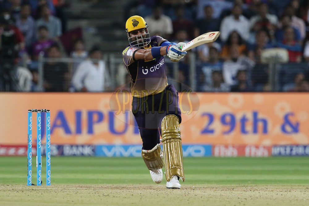 Robin Uthappa of the Kolkata Knight Riders plays a shot during match 30 of the Vivo 2017 Indian Premier League between the Rising Pune Supergiants and the Kolkata Knight Riders  held at the MCA Pune International Cricket Stadium in Pune, India on the 26th April 2017<br /> <br /> Photo by Vipin Pawar- IPL - Sportzpics