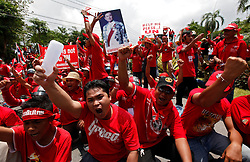 Thai red shirt protestors shouting outside the ASEAN summit venue of the Pattaya Exhibition and Convention Hall (PEACH) demanding the current government step down, on the first day of the Association of South East Asian Nations (ASEAN) plus six summit, in Pattaya, Thailand, about 160 km south east of Bangkok, Thailand, 10 April 2009. Thailand hosts the ASEAN plus three and six summits including leaders of China, Japan, South Korea, India, Australia, and New Zealand, with South East Asian leaders, from April 10 to 12.