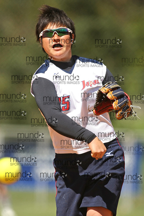(Canberra, Australia---24 March 2012) Yamato Fujita of Japan  in the Australia versus Japan women's softball game in the International Softball Challenge at the Hawker International Softball Centre in Canberra, Australia. Australia won the game 6-5 in the final inning. Copyright 2012 Sean Burges / Mundo Sport Images [seanburges@yahoo.com, seanburges@mundosportimages.com, www.mundosportimages.com].