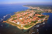 The Galle fort from the air. The Galle Fort is a UNESCO World Heritage Site.<br />