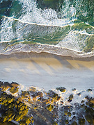 An aerial drone view of Narragansett Beach of Rhode Island.