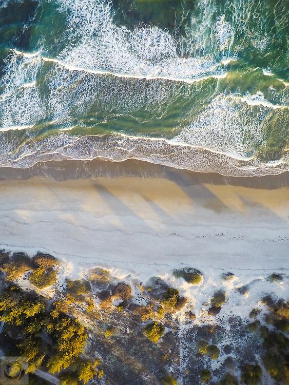 An aerial drone view of Narragansett Beach of Rhode Island.