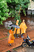 Laos. Luang Prabang. Buddhist monk and tourists in the rain.