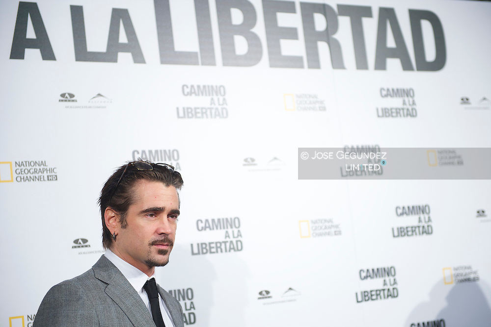 Irish actor Colin Farrell poses during the premiere of 'The way back' at Capitol Cinema in Madrid