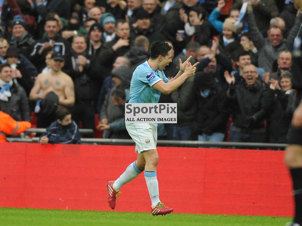 MAN CITYS SAMIR NASRI CELEBRATES HIS GOAL CITYS SECOND AT WEMBLEY, Capital One Cup Final, Wembley, Manchester City v Sunderland, Sunday March 2nd 2014