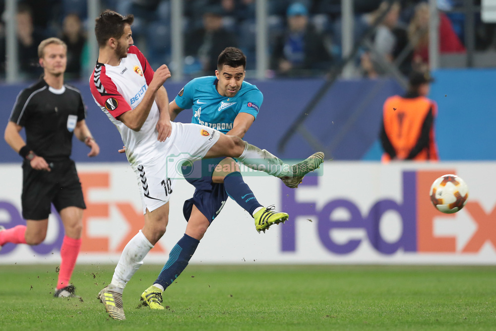 November 23, 2017 - Russia - midfielder Boban Nikolov of FC Vardar and midfielder Christian Noboa of FC Zenit during UEFA Europa League Football match Zenit - Vardar. Saint Petersburg, November 23,2017 (Credit Image: © Anatoliy Medved/Pacific Press via ZUMA Wire)