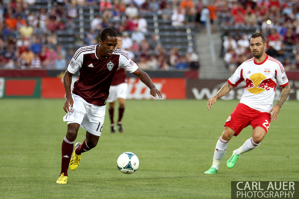 July 4th, 2013 - Colorado Rapids midfielder Atiba Harris (16) gets past New York Red Bulls midfielder Jonny Steele (22) in the first half of action in the Major League Soccer match between New York Red Bulls and the Colorado Rapids at Dick's Sporting Goods Park in Commerce City, CO