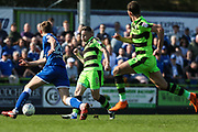 Forest Green Rovers Dayle Grubb(8) plays the ball through to Forest Green Rovers Christian Doidge(9) to score during the EFL Sky Bet League 2 match between Forest Green Rovers and Chesterfield at the New Lawn, Forest Green, United Kingdom on 21 April 2018. Picture by Shane Healey.