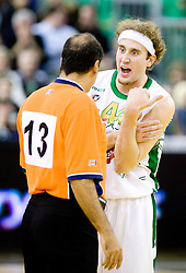 Referee Dani Hierrezuelo of Spain  and Matt Walsh (44) of Olimpija  at Euroleague basketball match in 6th Round of Group C between KK Union Olimpija and Maccabi Tel Aviv, on December 3, 2009, in Arena Tivoli, Ljubljana, Slovenia. Maccabi defeated Union Olimpija 82-65. (Photo by Vid Ponikvar / Sportida)