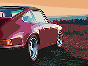 Image of a red Porsche 911 next to a field