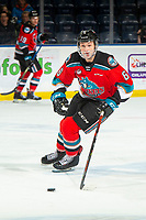 KELOWNA, BC - NOVEMBER 20: Kaedan Korczak #6 of the Kelowna Rockets skates with the puck against the Victoria Royals at Prospera Place on November 20, 2019 in Kelowna, Canada. Korczak was selected in the 2019 NHL entry draft by the Las Vegas Golden Knights. (Photo by Marissa Baecker/Shoot the Breeze)