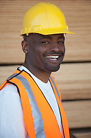 Portrait of a cheerful warehouse worker