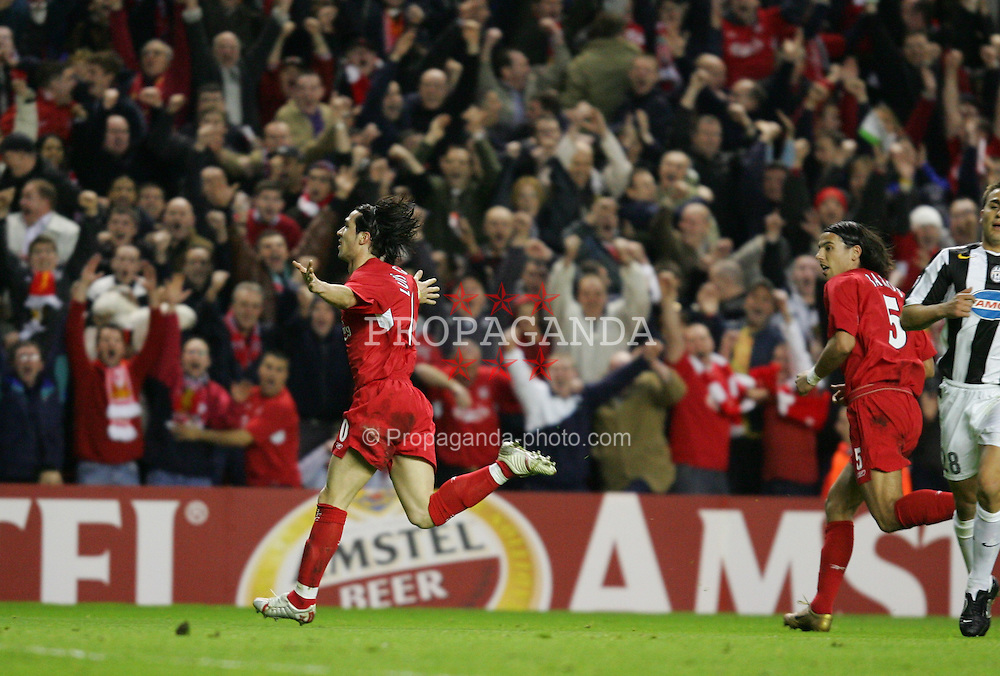 LIVERPOOL, ENGLAND - TUESDAY APRIL 5th 2005:  Liverpool's Luis Garcia celebrates scoring the second goal against Juventus  during the UEFA Champions League Quarter Final 1st Leg match at Anfield. (Pic by David Rawcliffe/Propaganda)