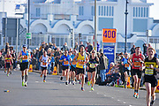 Athletes at 400m marker during The Great South Run in Southsea, Portsmouth, United Kingdom on 23 October 2016. Photo by Jon Bromley.