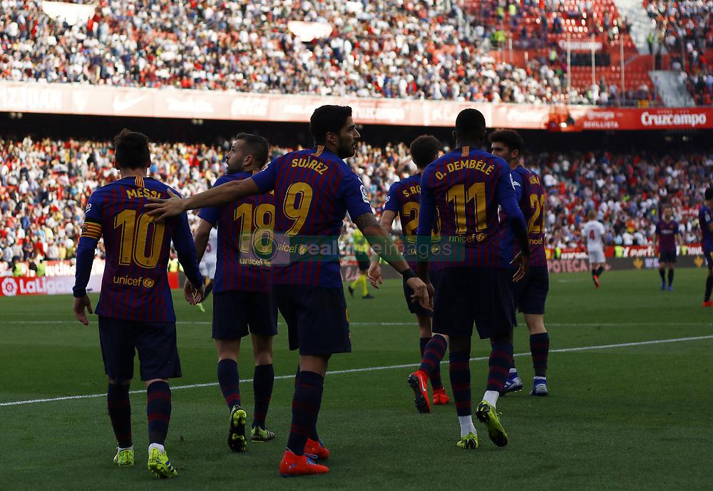 February 23, 2019 - Seville, Madrid, Spain - Luis Suarez (FC Barcelona) seen celebrating after scoring a goal during the La Liga match between Sevilla FC and Futbol Club Barcelona at Estadio Sanchez Pizjuan in Seville, Spain. (Credit Image: © Manu Reino/SOPA Images via ZUMA Wire)