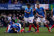 Goal, Ben Close of Portsmouth scores, Portsmouth 4-1 Bradford City during the EFL Sky Bet League 1 match between Portsmouth and Bradford City at Fratton Park, Portsmouth, England on 2 March 2019.