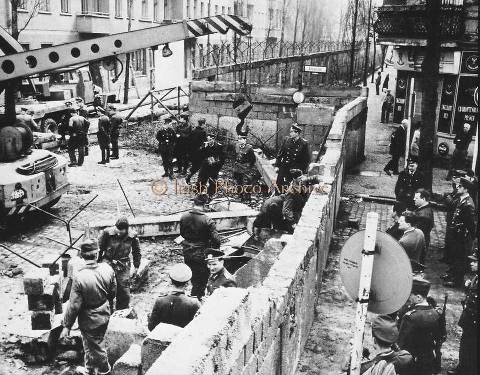 Construction of the Berlin Wall. dividing East from West Germany. 1961