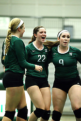 22 September 2015:  Anne Cummings(22) and Colleen Rynne(9) during an NCAA womens division 3 Volleyball match between the Augustana Vikings and the Illinois Wesleyan Titans in Shirk Center, Bloomington IL