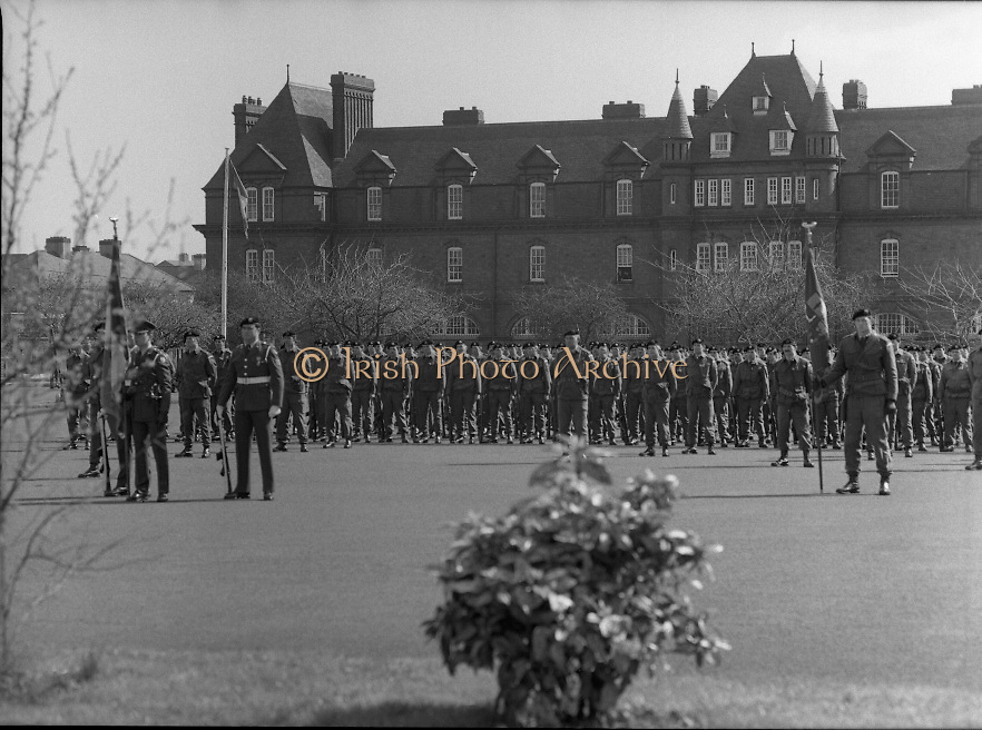 1983-04-12.12th April 1983.12-04-1983.04-12-83..Photographed at McKee Barracks, Cork..At Ease on Parade..To the right of picture Lieutenant Martin Murphy of Cork bearing the new battalion flag..