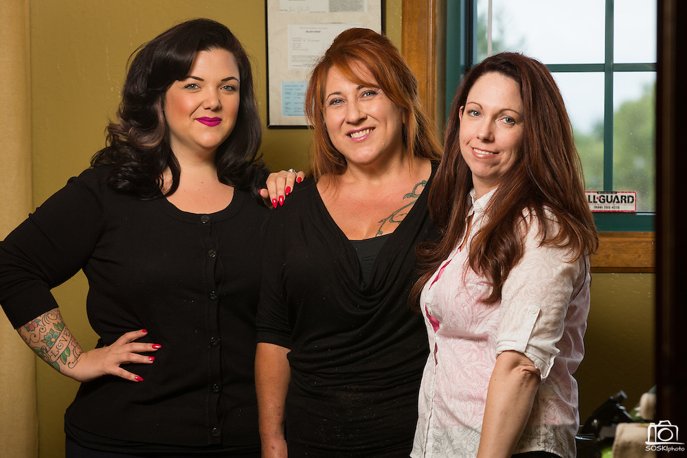 Chava Pelo Salon owner Bobbie Chavarria, center, and associates pose for a portrait at Chava Pelo Salon in Milpitas, California, on July 19, 2015. (Stan Olszewski/SOSKIphoto)
