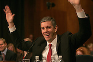 Arne Duncan testifies at his confirmation hearing to become Secretary of the Department of Education.  Photo by Dennis Brack