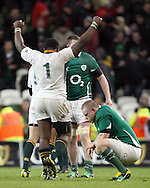 Photo © SPORTZPICS/ SECONDS LEFT IMAGES 2010/Colm O'Neill  - South Africa's Tendai Mtawarira, Beast shows his delight in victory over Ireland as a dejected Tom Court of Ireland gathers his thoughts - Ireland v South Africa - Guinness Series 2010 - Aviva Stadium - Dublin - Ireland - 06/11/10 - All rights reserved
