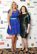 29/9/14***NO REPRO FEE***Pictured are Rosanna Davison and Hannah Deacon at the 11th Q Ball in aid of Spinal Injuries Ireland at The Ballsbridge Hotel last night Pic: Marc O'Sullivan
