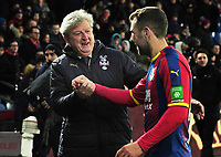 Football - 2018 / 2019 Premier League - Crystal Palace vs. Fulham<br /> <br /> James Arthur is congratulated by Palace Manager, Roy Hodgson after the match, at Selhurst Park.<br /> <br /> COLORSPORT/ANDREW COWIE
