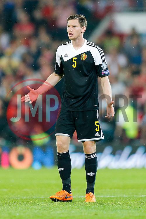 Jan Vertonghen of Belgium (Tottenham Hotspur) looks frustrated - Photo mandatory by-line: Rogan Thomson/JMP - 07966 386802 - 12/06/2015 - SPORT - FOOTBALL - Cardiff, Wales - Cardiff City Stadium - Wales v Belgium - EURO 2016 Qualifier.