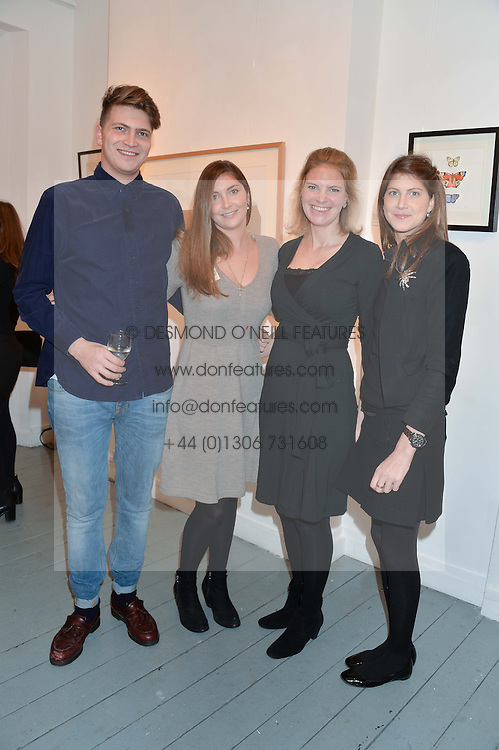 Left to right, siblings PRINCE FRITZI VON PREUSSEN, PRINCESS AUGUSTA VON PREUSSEN, PRINCESS BEATRICE VON PREUSSEN and PRINCESS FLORENCE VON PREUSSEN at an exhibition of works by Beatrice von Preussen held at The Gallery on The Corner, 155 Battersea Park Road, London SW8 on 11th December 2013.