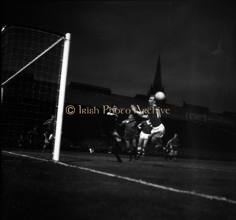 08/04/1964<br /> 04/08/1964<br /> 08 April 1964<br /> European Nations Cup second leg: Ireland v Spain at Dalymount park, Dublin.  Spain beat Ireland 2-0 in the second leg of the European Nations Cup. Picture shows: Spanish goalie Iribar (left), punching the ball past Hale (11) Ireland, with Rivillia (centre), Spanish back also in the picture.