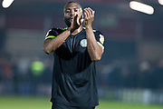 Macclesfield Town defender Nathan Cameron applauding the Macclesfield fans after the EFL Sky Bet League 2 match between Salford City and Macclesfield Town at the Peninsula Stadium, Salford, United Kingdom on 23 November 2019.