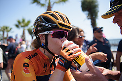 Karol-Ann Canuel needs a big drink after Stage 10 of the Giro Rosa - a 124 km road race, starting and finishing in Torre Del Greco on July 9, 2017, in Naples, Italy. (Photo by Sean Robinson/Velofocus.com)