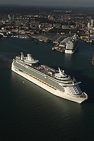 Royal Caribbean International's Independence of the Seas passes Celebrity Cruises' Celebrity Eclipse in Southampton Docks today.<br /> Both ships are based in Southampton and today is the first time the two ships owned by RCL Cruises LTD have met.