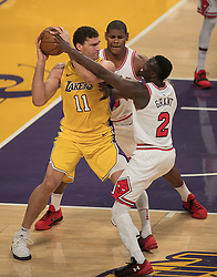 November 21, 2017 - Los Angeles, California, United States of America - Brook Lopez #11 of the Los Angeles Lakers is surrounded by Chicago Bulls defenders during their game on Tuesday November 21, 2017 at the Staples Center in Los Angeles, California. Lakers defeat Bulls, 103-94. JAVIER ROJAS/PI (Credit Image: © Prensa Internacional via ZUMA Wire)