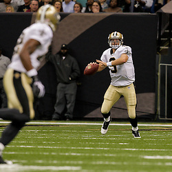 2009 August 14: New Orleans Saints quarterback Drew Brees (9) looks to pass to wide receiver Marques Colston (12) during a preseason opener between the Cincinnati Bengals and the New Orleans Saints at the Louisiana Superdome in New Orleans, Louisiana.
