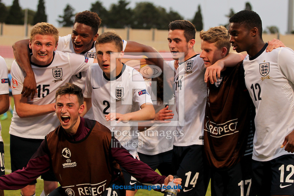 England celebrate reaching the final after the 2014 UEFA European Under-17 match at Ta' Qali National Stadium, Attard<br /> Picture by Tom Smith/Focus Images Ltd 07545141164<br /> 18/05/2014