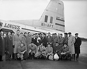 Irish Rugby Football Union, Ireland v France, Five Nations, French team arriving at Collinstown, Ireland, Thursday 20th January, 1955,.20.1.1955, 1.20.1955,..Referee- Mr Ivor David, Welsh Rugby Union, ..Score- Ireland 3 - 5 France,..French Team, ..M Vannier, Wearing number 15 French jersey, Full Back, Racing Club de France Rugby Football Club, Paris France,..J Lepatey, Wearing number 14 French jersey, Left Wing, S C Mazamet Rugby Football Club, France,..R Martine, Wearing number 13 French jersey, Left Centre, F.C Lourdais Rugby Football Club, France, ..M Prat, Wearing number 12 French jersey, Right centre, F.C Lourdais Rugby Football Club, France, ..A Boniface, Wearing number 11 French jersey, Right Wing, Stade Montois Rugby Football Club, France,..A Haget, Wearing number 10 French jersey, Outside Half, Paris University Rugby Football Club, France,..G Dufau, Wearing number 9 French jersey, Scrum, Racing Club de France Rugby Football Club, Paris France,..A Domenech, Wearing number 2 French jersey, Forward, R C Vichy Rugby Football Club, Paris France,..P Labadie, Wearing number 1 French jersey, Forward, Aviron Bayonnais Rugby Football Club, France,..R Brejassou, Wearing number 3 French jersey, Forward, Stade Tarbais Rugby Football Club, France,..B Chevallier, Wearing number 4 French jersey, Forward, A S Montferrand Rugby Football Team, France, ..M Celaya, Wearing number 5 French jersey, Forward, Biarritz Olympique Rugby Football Club, France,..J Prat, Wearing number 6 French jersey, Captain of the French team, Forward, F.C Lourdais Rugby Football Club, France,..R Baulon, Wearing number 7 French jersey, Forward, C S Vienne Rugby Football Club, France,  ..H Domec, Wearing number 8 French jersey, Forward, F.C Lourdais Rugby Football Club, France,