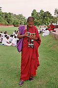 Monk Tourist with Camera at Sarnath
