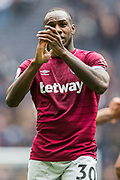 Goalscorer Michail Antonio (West Ham) thanking the West Ham FC supporters following the Premier League match between Tottenham Hotspur and West Ham United at Tottenham Hotspur Stadium, London, United Kingdom on 27 April 2019.