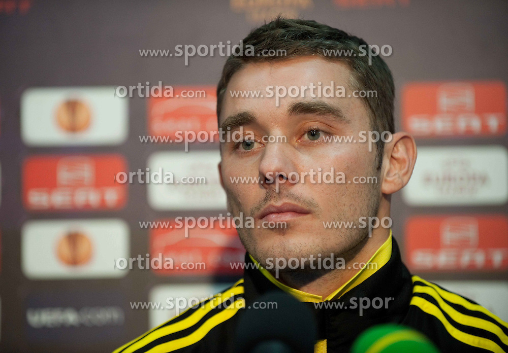 01.12.2010, Stadionul Steaua, Bucharest, ROM, UEFA Europa League, FC Steaua Bucuresti v Liverpool FC, press conference Liverpool, im Bild Liverpool's Fabio Aurelio at the Stadionul Steaua ahead of the UEFA Europa League Group K match against FC Steaua Bucuresti. . EXPA Pictures © 2010, PhotoCredit: EXPA/ Propaganda/ David Rawcliffe +++++ ATTENTION - OUT OF ENGLAND/UK +++++